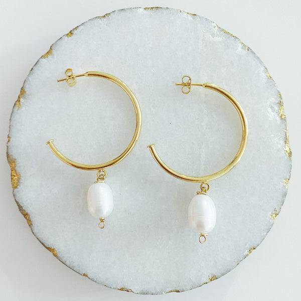 Single Pearl Hoops