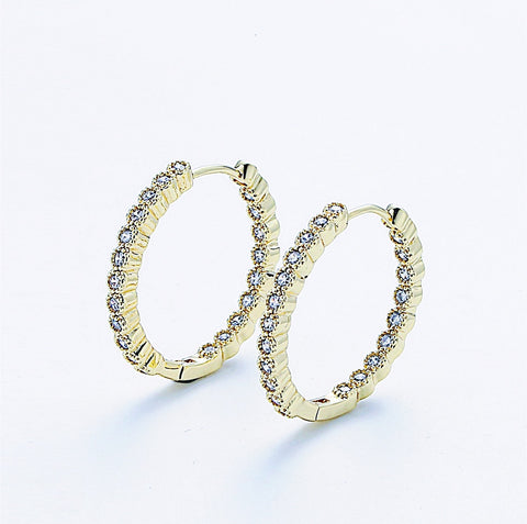 Clear Cubic Hoop Earrings
