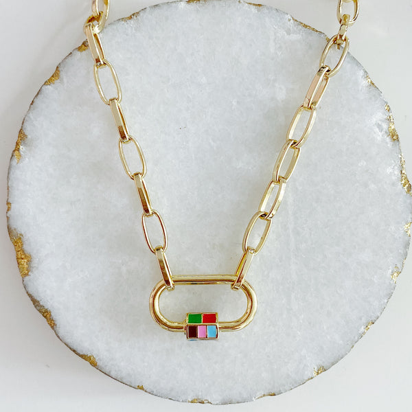 Rubik Cube Lock Necklace
