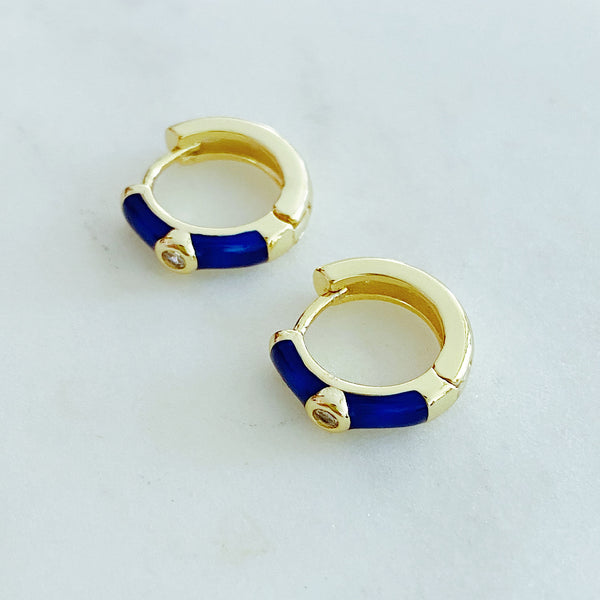 Blue Enamel Small Hoop Earrings