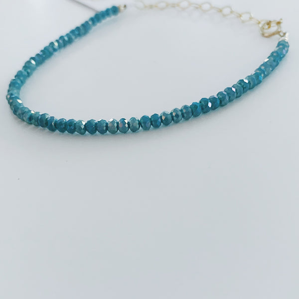 Frosted Light Teal Crystals Braceler