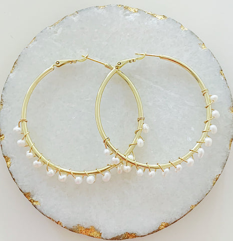 Fresh Water Pearls Hoops