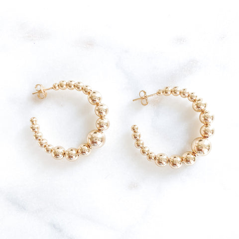 Gold Ball Small Hoops
