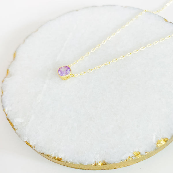 Lilac Square Necklace