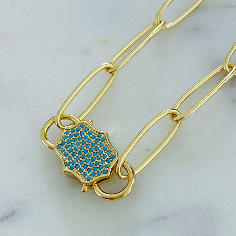 Teal Padlock Necklace