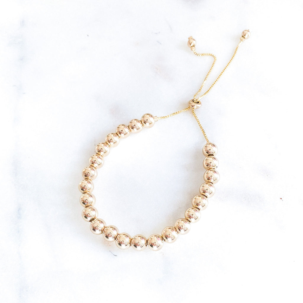 6mm Gold Beads Adjustable Bracelet