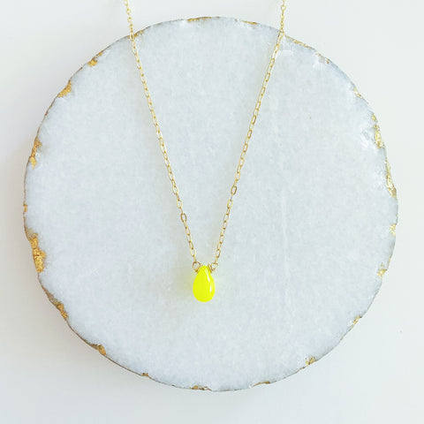 Neon Yellow Drop Necklace