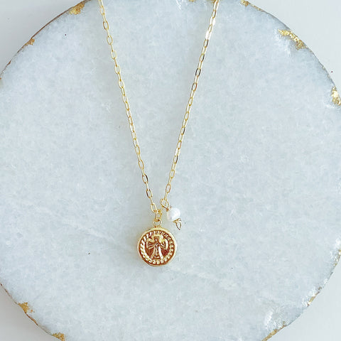 Small Cross Medallion with Pearl Necklace