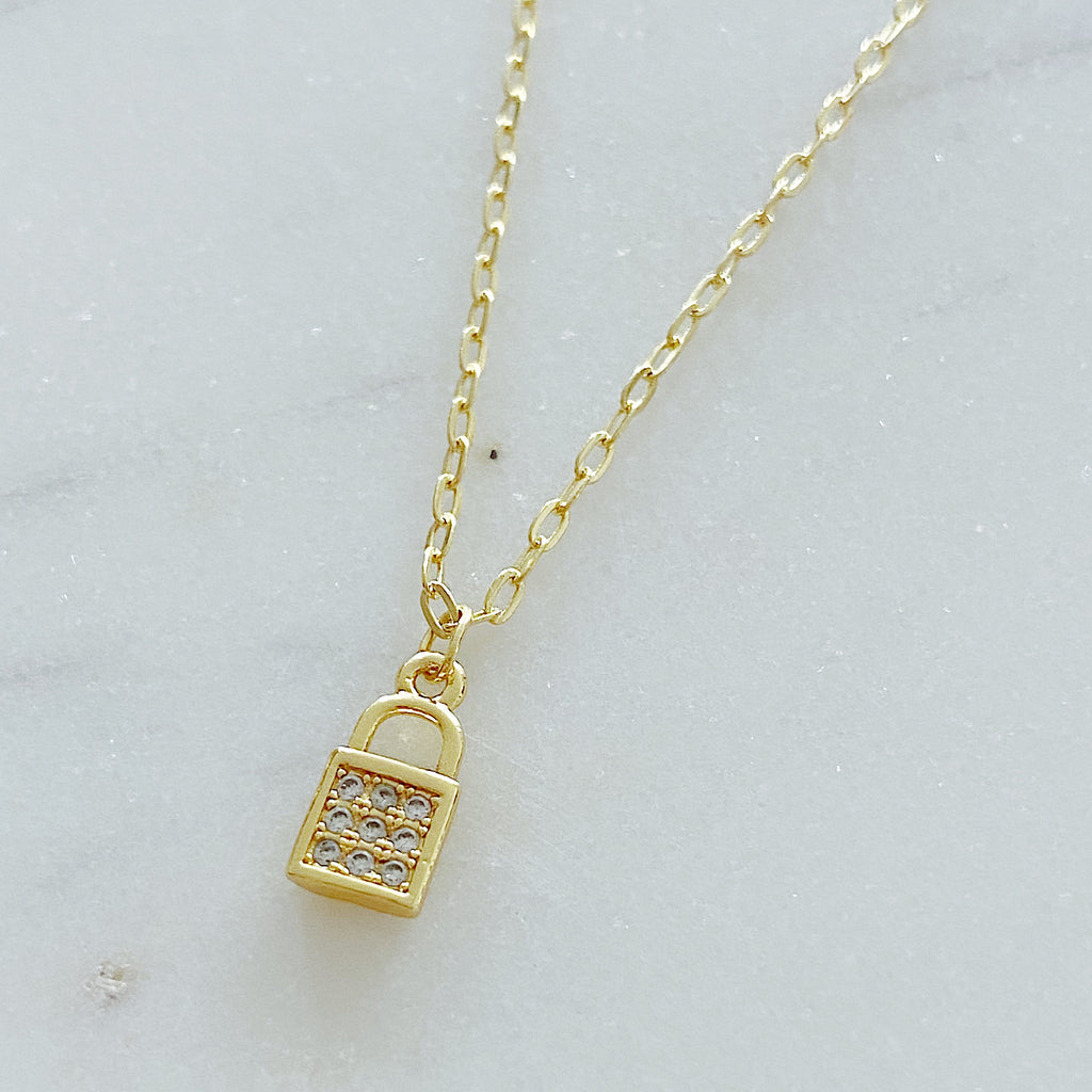 Pave Padlock Necklace