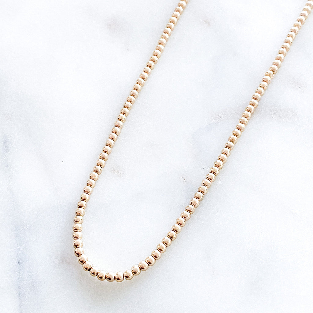 3mm Gold Beads Necklace
