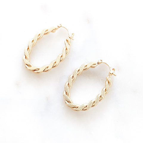 Thin Twisted Oval Hoops