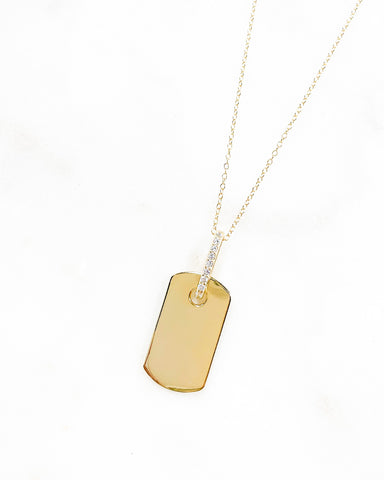 Cz Tag Necklace