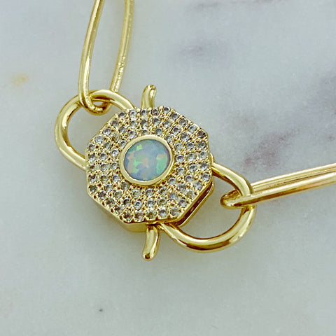 Opal Padlock Necklace