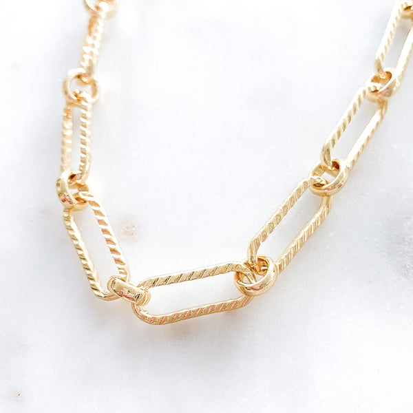 Textured Long Link Necklace