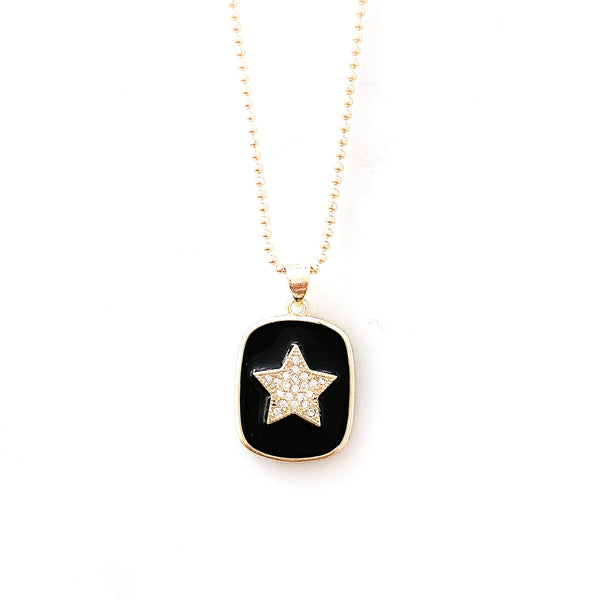 Black Star Medal Necklace