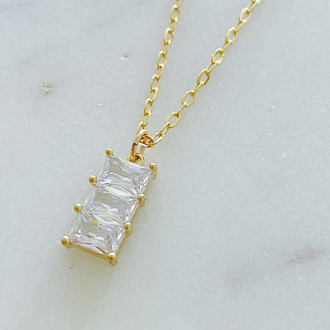 Three Clear Stones Necklace