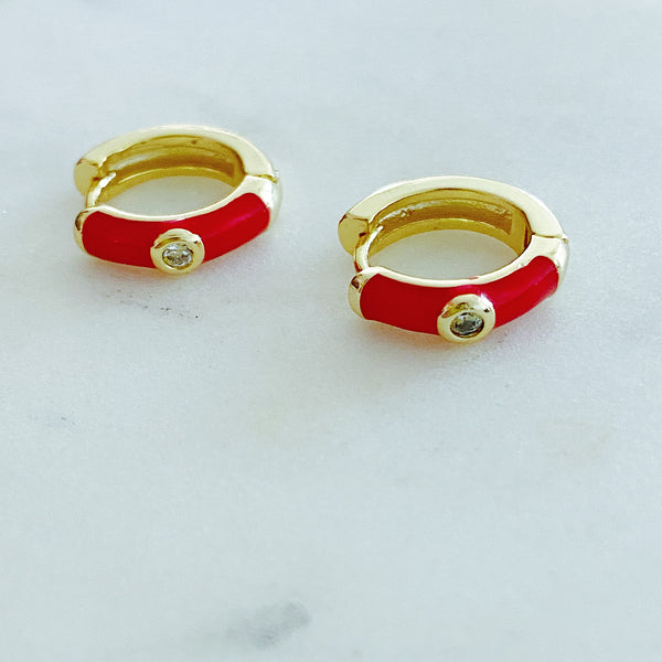Red Enamel Small Hoop Earrings