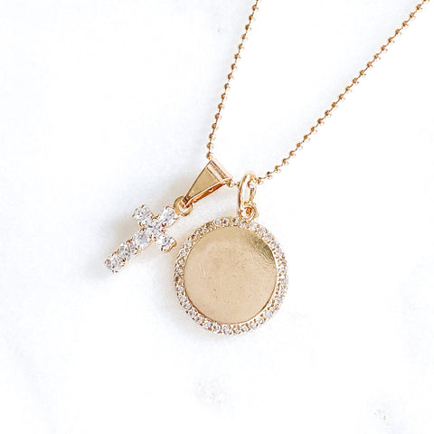 Fancy Circle and Cross Necklace