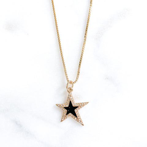Black Large Star Necklace