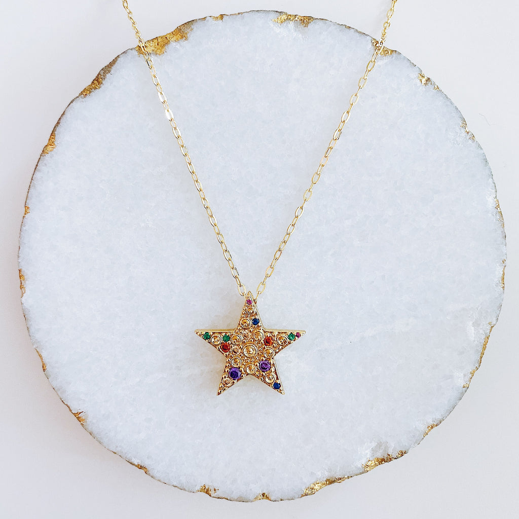 Colorful Cz Star Necklace