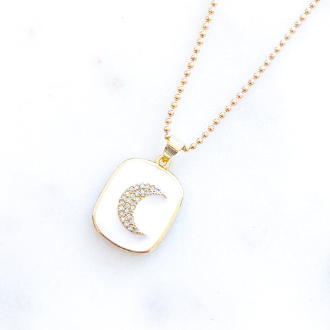 White Moon Medal Necklace