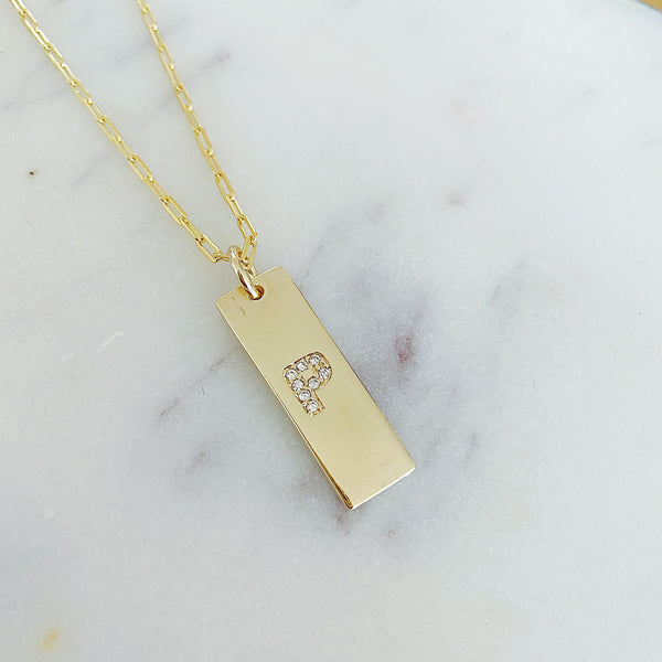 Initial Plate Necklace
