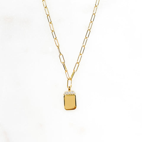 Cz Small Tag Necklace