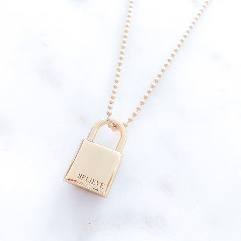 Believe Lock Midi Necklace