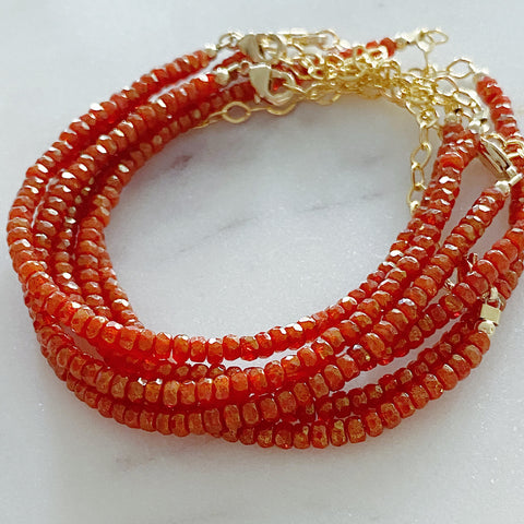 Orange with Gold Luster Rondelle Bracelet