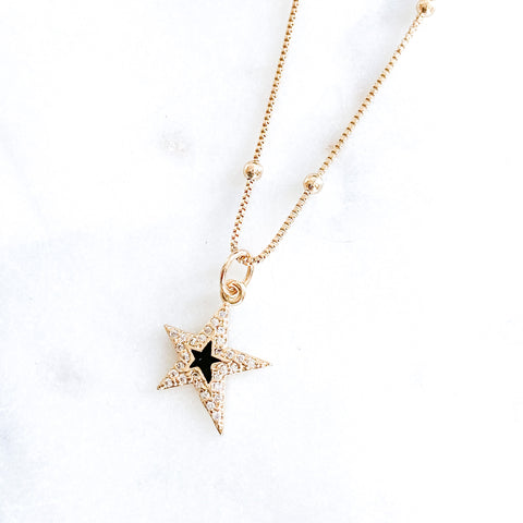Black Star in Satellite Chain Necklace