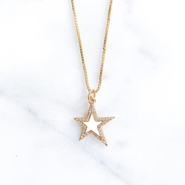 White Large Star Necklace