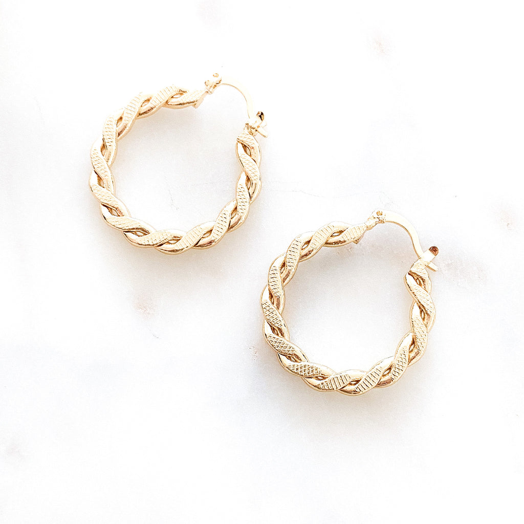 Thin Twisted Round Hoops