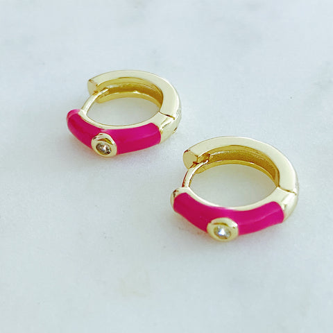 Hot Pink Enamel Small Hoop Earrings