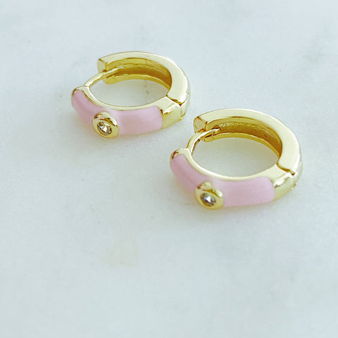 Soft Pink Enamel Small Hoop Earrings