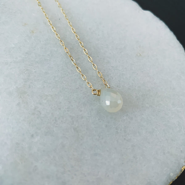 Pearl Coated Crystal Drop Necklace