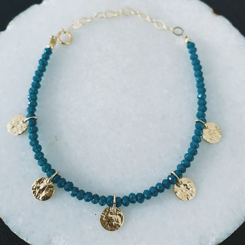 Teal Crystals and Medallions Bracelet