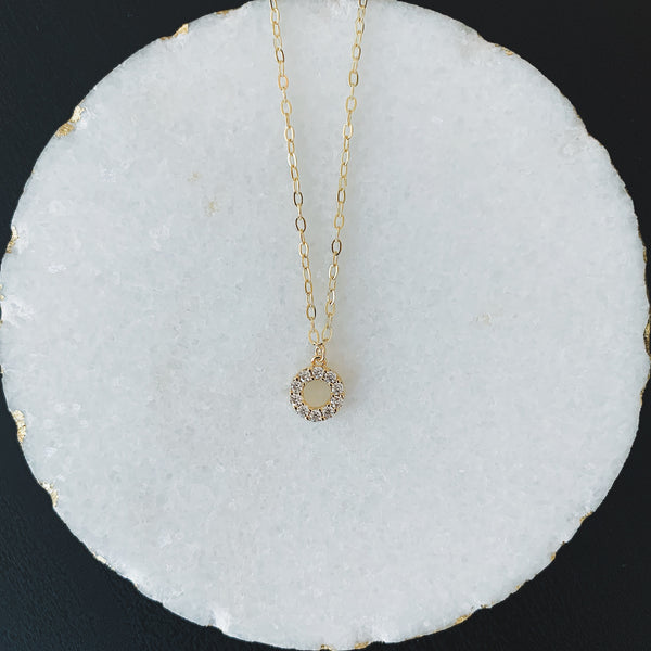 Small Pave Circle Necklace
