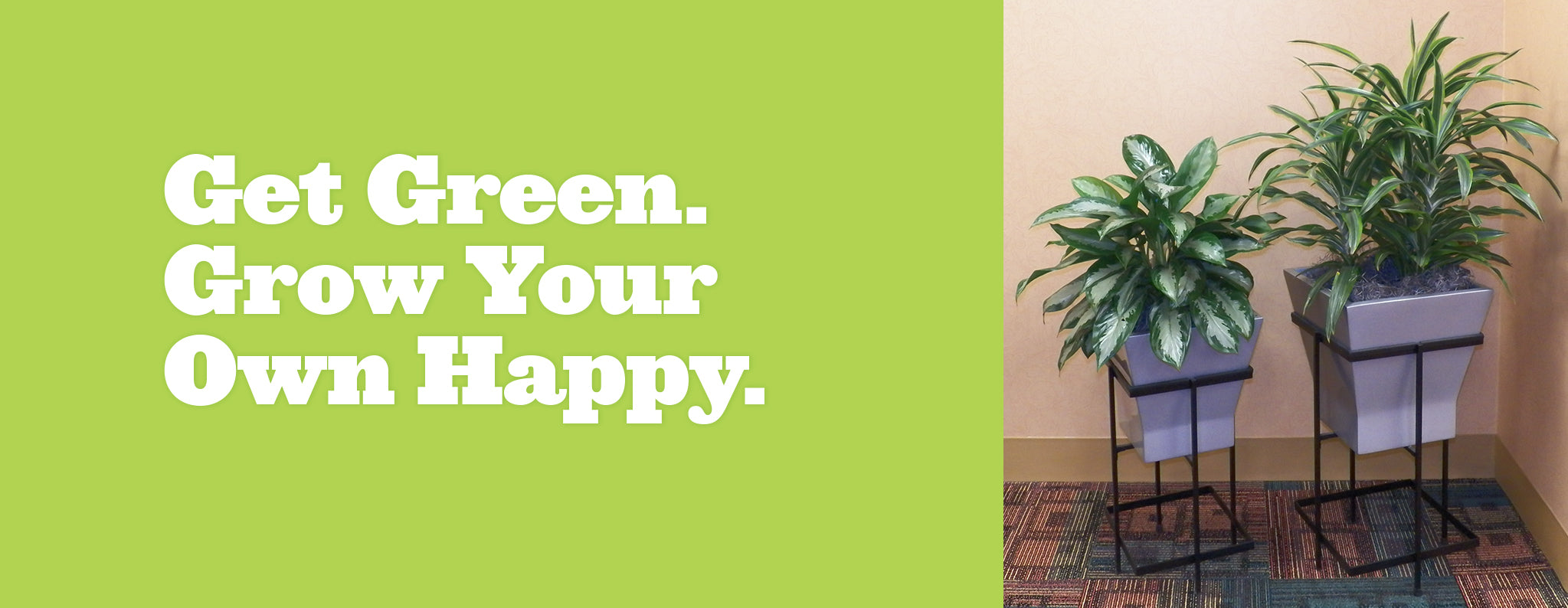Get Green. Grow Your Own Happy. Tier Planters with stands