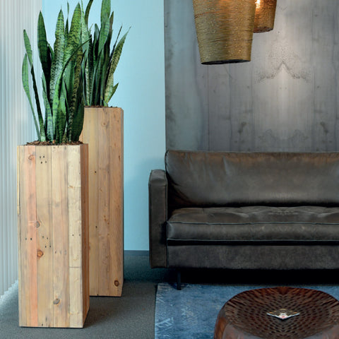 Salvaged Wood Tall Square Planter