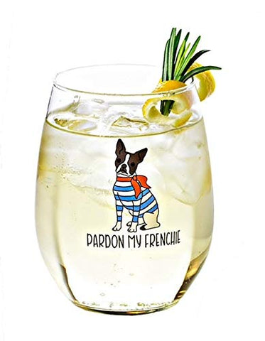 Pardon my Frenchie stemless wine and water glass and cocktail tumbler