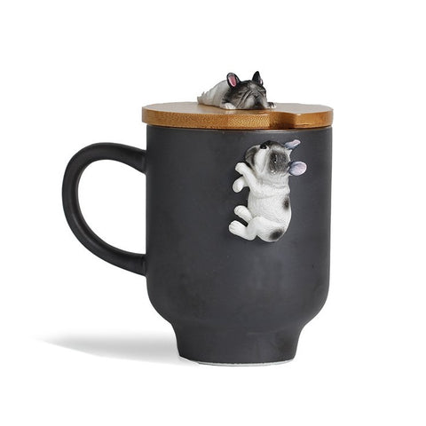French bulldog mug with bamboo lid