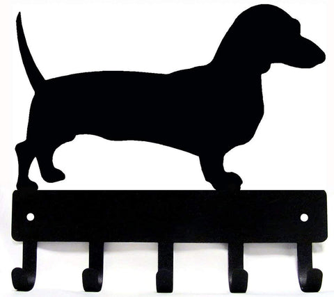The Metal Peddler Dachshund Key Rack Dog Leash Hanger Large 9 inch Wide