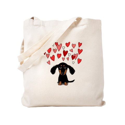 CafePress Cute Dachshund Natural Canvas Tote Bag, Reusable Shopping Bag