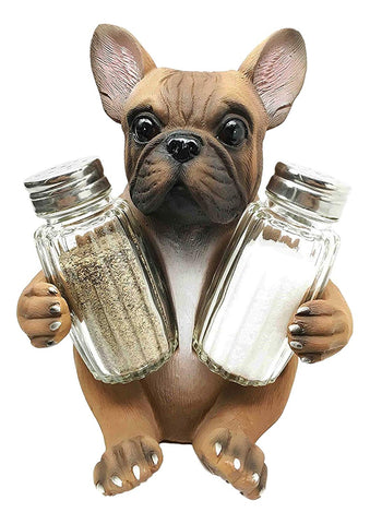 Ebros Adorable French Bulldog Hugging Spices Salt And Pepper Shakers Holder Figurine Set Kitchen Home Decor Statue
