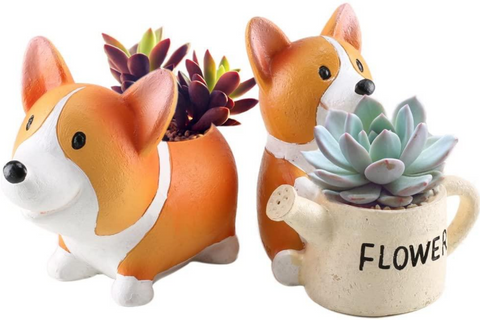 Best Corgi Gifts - Corgi Succulent Planters - Set of 2