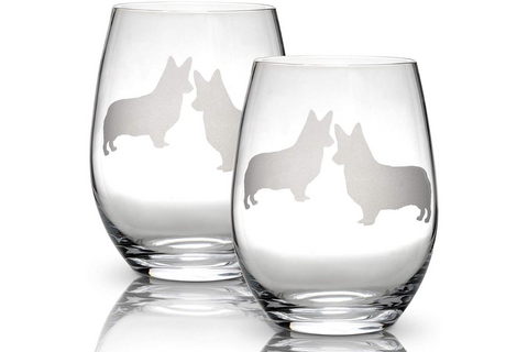 Best Corgi Gifts - Stemless Corgi Wine Glasses
