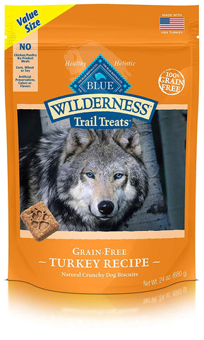 Blue Buffalo Wilderness Trail Treats Grain Free Crunchy Dog Treats Biscuits, Turkey Recipe