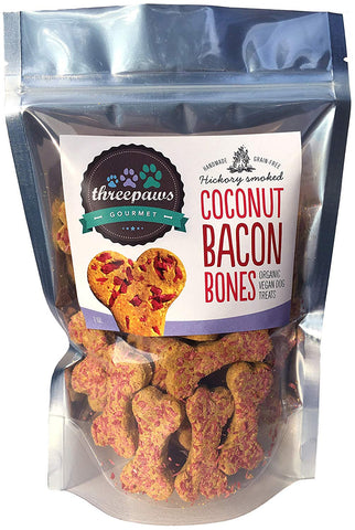 Threepaws Gourmet Hickory Smoked Coconut Bacon Bones