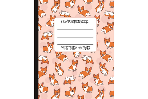Corgi-Themed Wide Ruled Composition Book