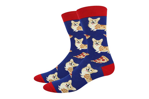 Men's Corgi 'n Pizza Colorful Novelty Socks